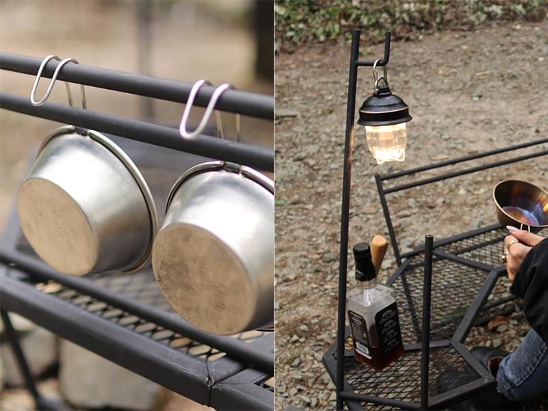 テキーラ180のメインの特徴(ランタンやシェラカップなどが自由に吊るせる)