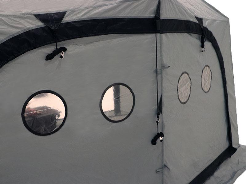 サブマリンテントLのメインの特徴(明るい室内、サブマリン窓)