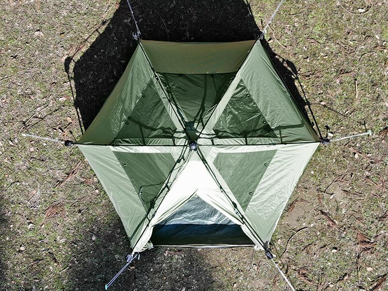 キノコテントの各部の特徴(安定性の高い6本足構造)
