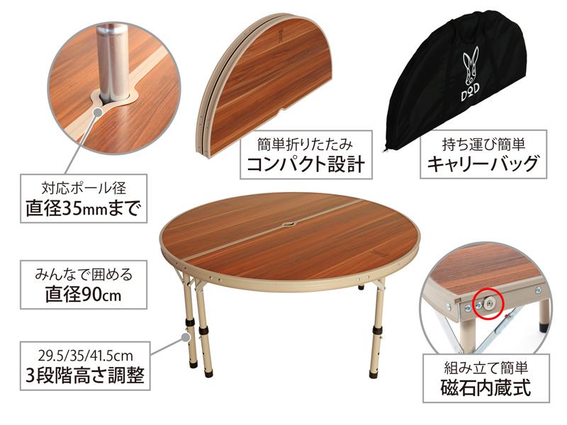 ワンポールテントテーブルの主な特徴