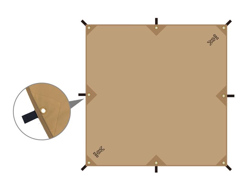 チーズタープミニのメインの特徴(全8ヶ所のグロメット&ループ)