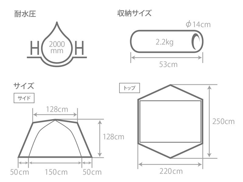 ワンタッチカンガルーテント用フライシートSのサイズ画像