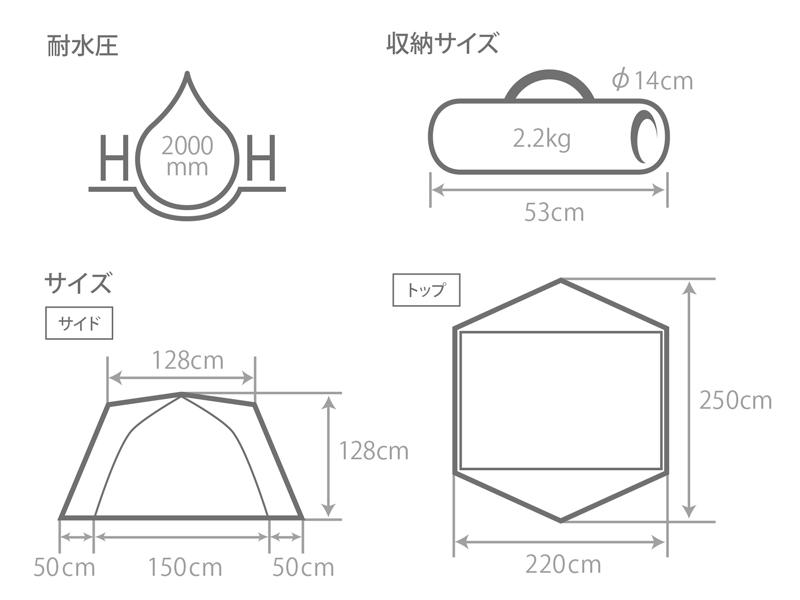 カンガルーテント用フライシートSのサイズ画像