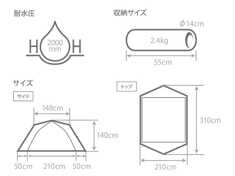 ワンタッチカンガルーテント用フライシートMのサイズ画像