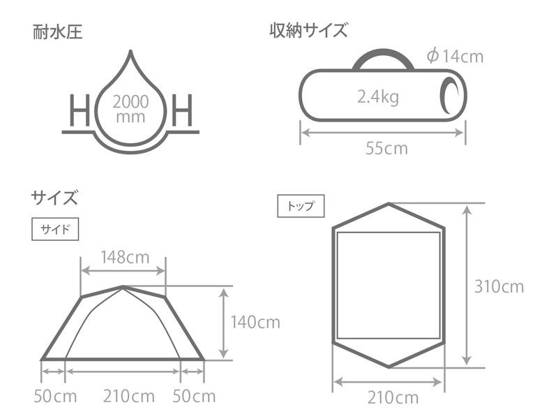 カンガルーテント用フライシートMのサイズ画像