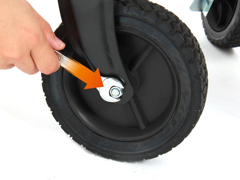 キャリーワゴンスペアホイール(2個)前輪取付方法画像