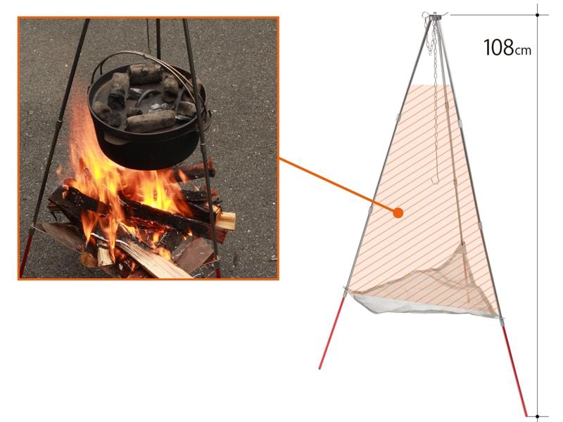 ライダーズファイアクレードルのメインの特徴(煮炊きしやすい焚き火スペース)
