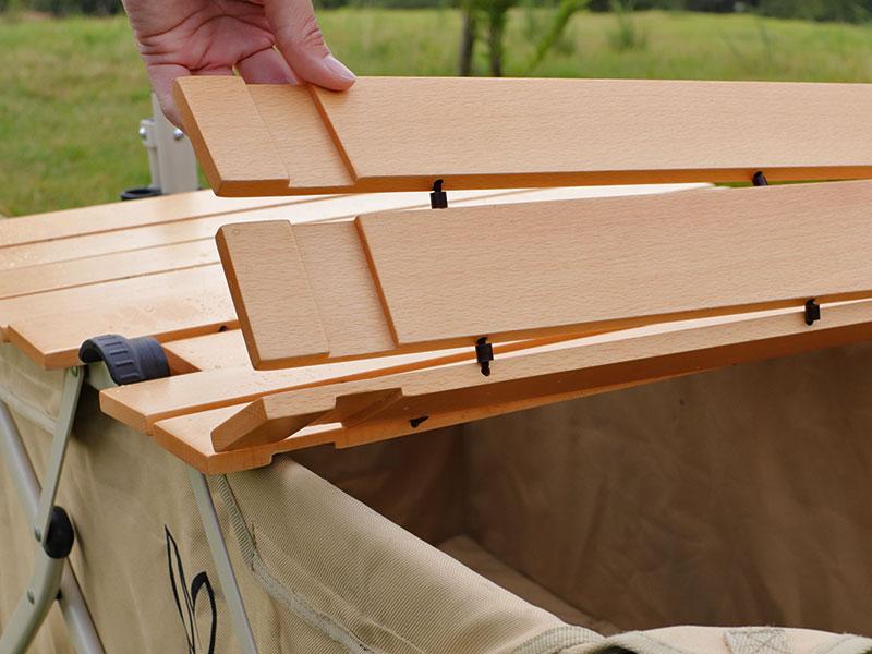 キャリーワゴン用ロール天板のメインの特徴(ずれにくい溝切り加工)