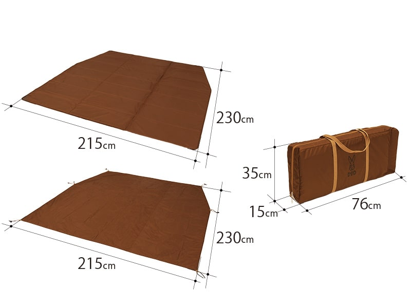 カマボコテント3S用マットシートセットのサイズ画像
