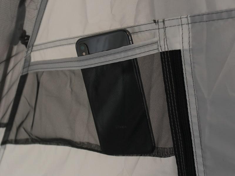 ライダーズワンタッチテントの各部の特徴(寝室ポケット)
