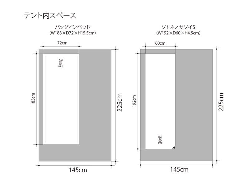 ライダーズワンタッチテント寝室サイズ(ベッド・マット設置)イメージ画像
