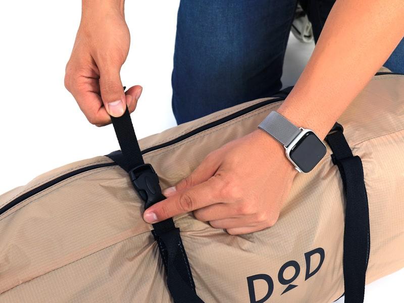 ライダーズワンタッチテントの各部の特徴(専用コンプレッションバッグ)