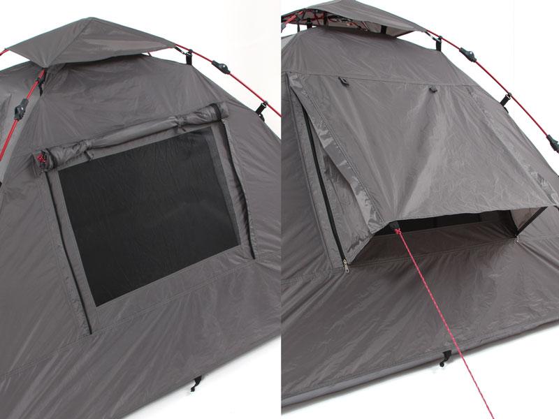 ライダーズワンタッチテントのメインの特徴(快適さ向上、換気しやすい大型窓)