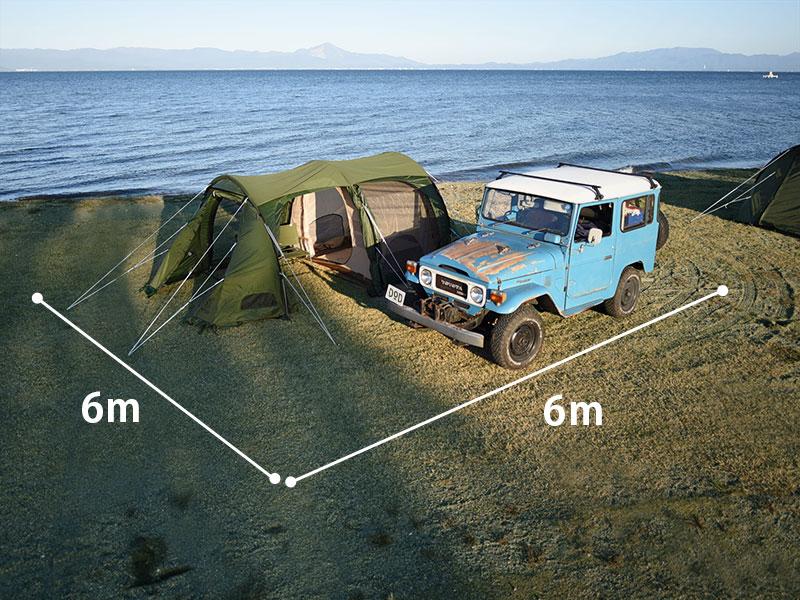 カマボコテント3Sのメインの特徴(省スペースな設営面積)
