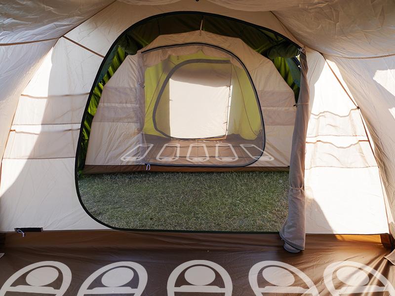 カマボコテント3Mの各部の特徴(インナーテントを2つ付けて最大10人就寝可能)