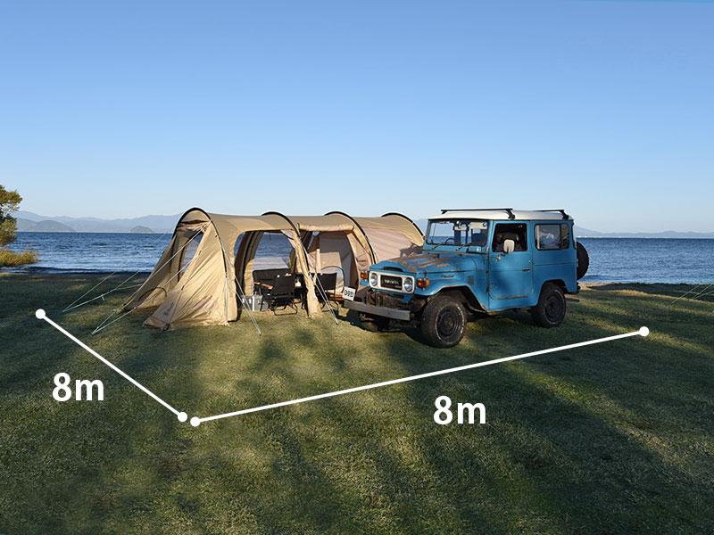 カマボコテント3Mのメインの特徴(日本のキャンプサイトに合わせて設計されたサイズ)