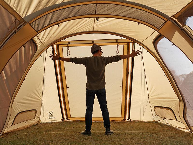 カマボコテント3Lの各部の特徴(テント内を立って歩ける高い天井)