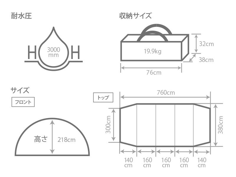 カマボコテント3Lのサイズ画像