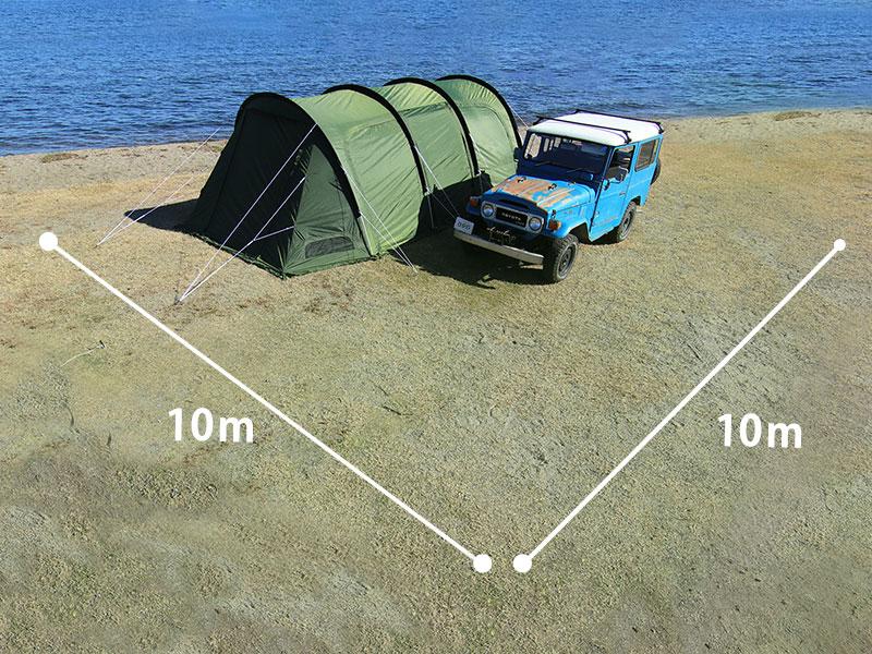 カマボコテント3Lのメインの特徴(10×10m区画に入る効率的形状)
