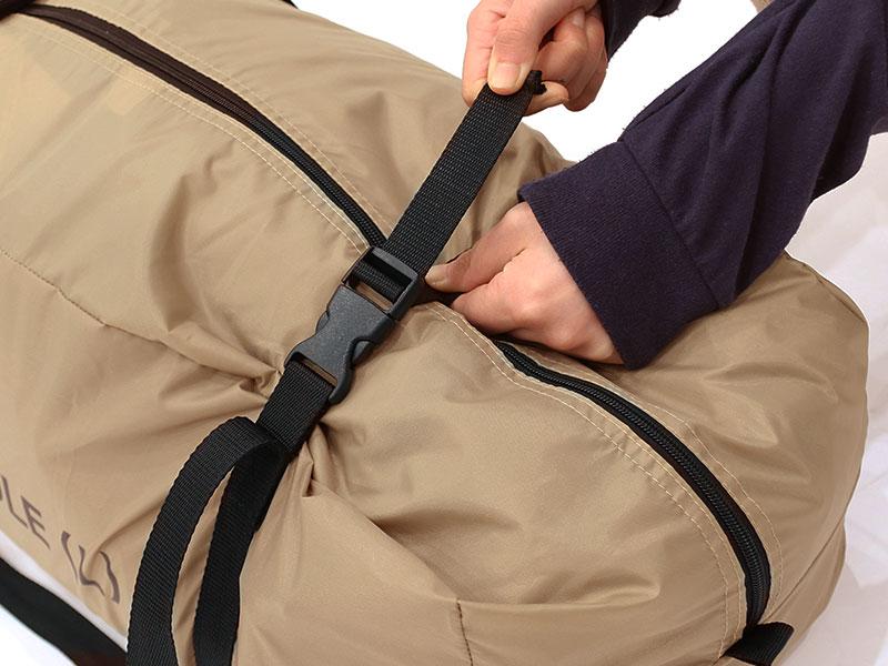ワンポールテントLの各部の特徴(専用コンプレッションバッグ)