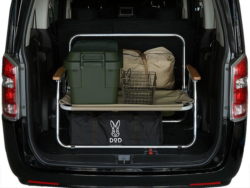 グッドラックソファのメインの特徴(車内で棚になるグッドラック機能)