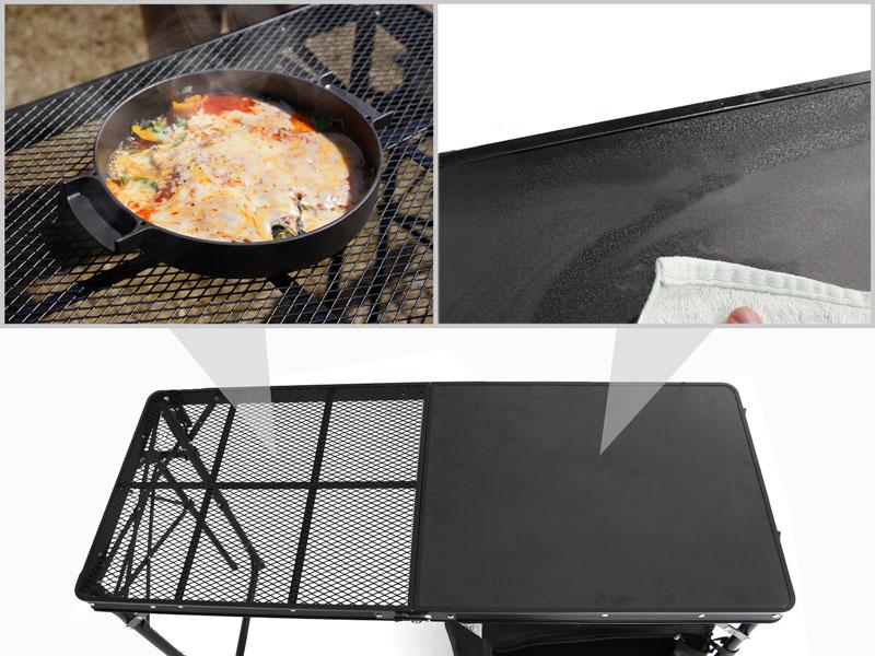クッキングキングのメインの特徴(耐熱メッシュ&化粧板(MDF)のハイブリッド天板)
