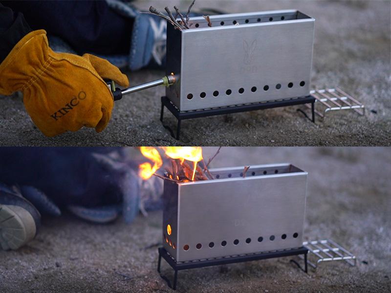 ぷちもえファイヤーの各部の特徴(着火がしやすい側面穴)