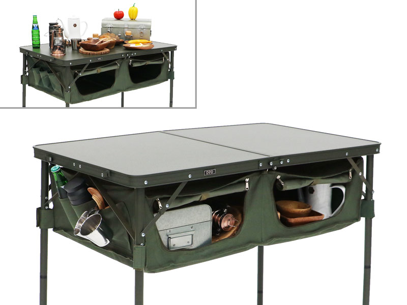 グッドラックテーブルのメインの特徴(テントサイトをすっきりさせる大容量収納)