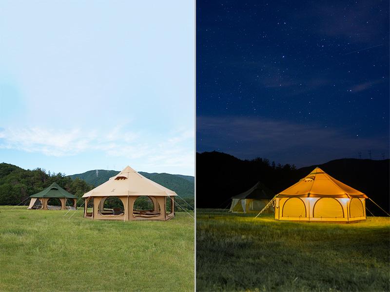 タケノコテント2のメインの特徴(夏は涼しく、冬は暖かいオールシーズン仕様)