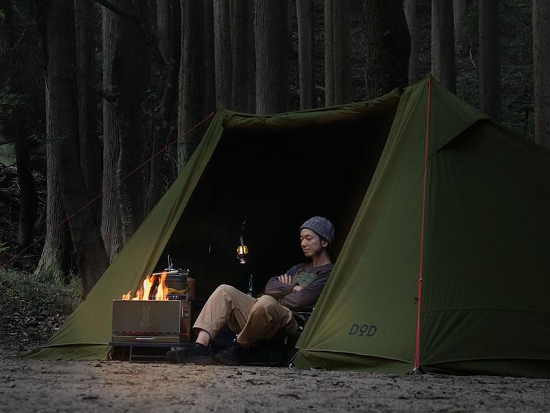 ソロソウルウォウウォウのメインの特徴(テントの近くで焚き火を楽しめる)