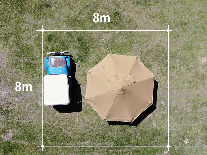 タケノコテント2のメインの特徴(8×8mの区画サイトに収まる設営面積)