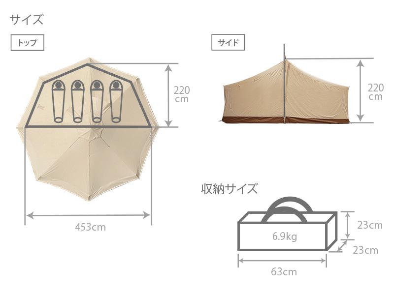 タケノコテント用インナーテントのサイズ画像