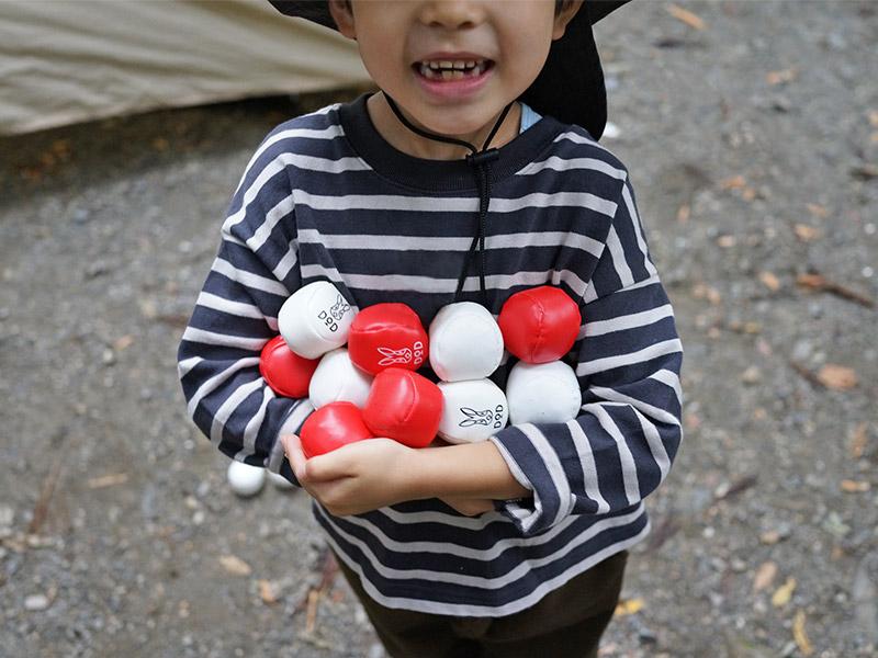 キャンプタマイーレの各部の特徴(お子様でも握りやすい専用ボール)