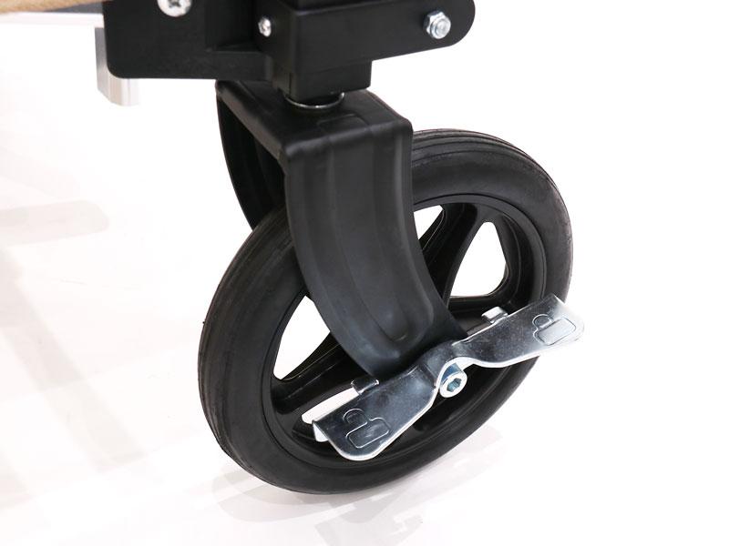 アルミキャリーワゴンの各部の特徴(誤動作を防止するタイヤロック)