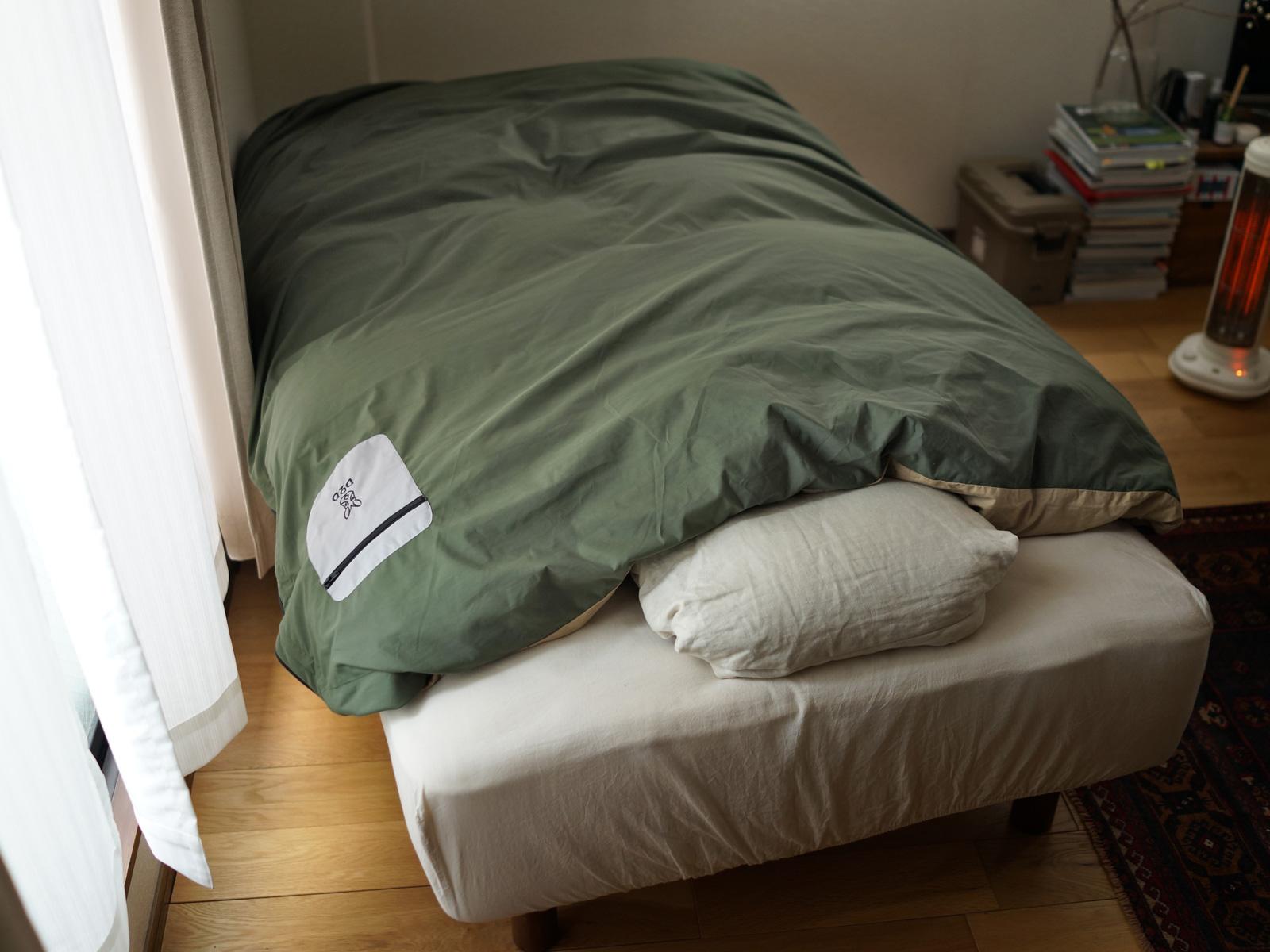 フトンキャンパー(シングルサイズ)のメインの特徴(家での掛け布団カバーとしても遜色ない質感)