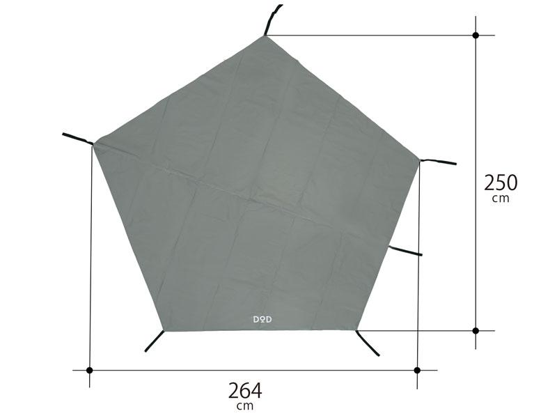 グランドシート(1人用/ペンタゴン)のサイズ画像