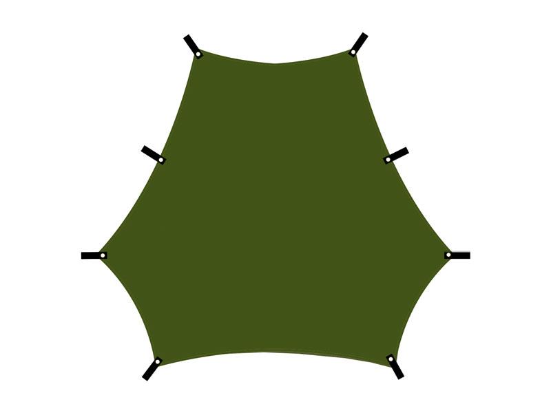 カートゥギャザータープの各部の特徴(各頂点にグロメット&ループ)