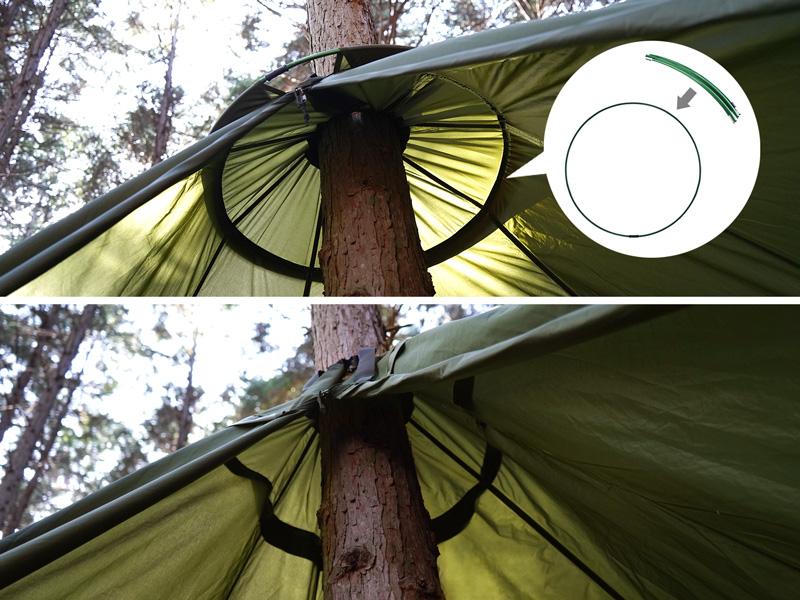 トゥリーラブのメインの特徴(細い木でも上部空間を確保するサブポール)